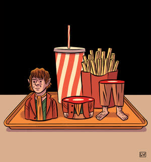 An illustration of 'The Hobbit' as Happy Meal toys
