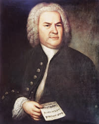 Painted portrait of German composer and organist Johann Sebastian Bach (1685-1750) holding the 'Canon triplex for Six Voices,' Leibzig, Germany, painted by Elias Gottlieb Haussmann in 1746