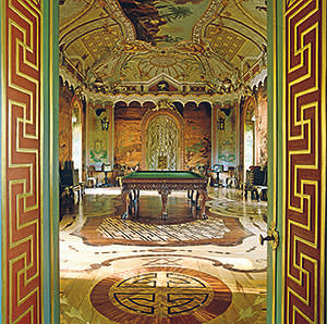 A Chinese-style salon by architect Antonio Rinaldi, featuring a marquetry floor