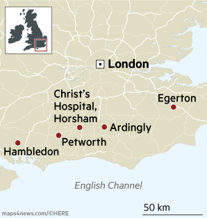 South East england villages map