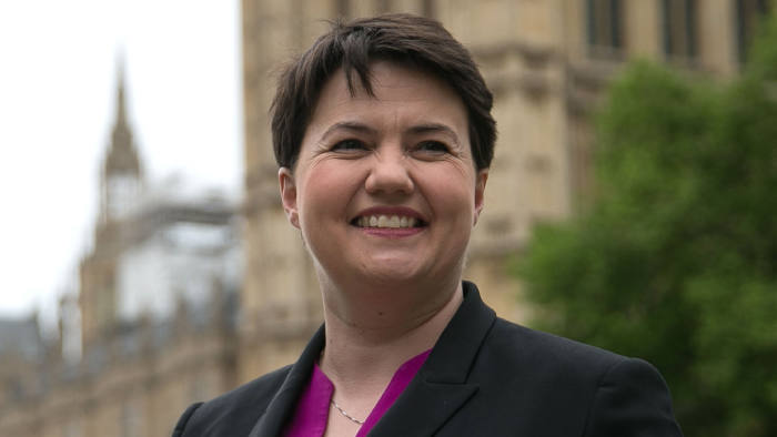 Ruth Davidson, leader of the Scottish Conservatives gives media interviews in central London on May 15, 2017.  / AFP PHOTO / Daniel LEAL-OLIVAS        (Photo credit should read DANIEL LEAL-OLIVAS/AFP/Getty Images)