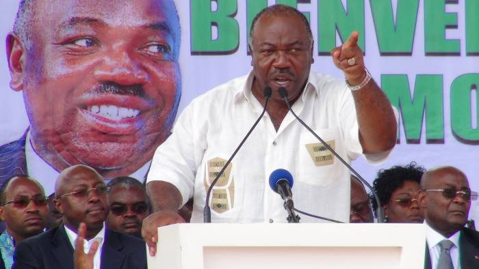 Gabon's incumbent President Ali Bongo Ondimba speaks ahead of the August 27 election at a campaign rally in Libreville, Gabon, July 29, 2016. Picture taken July 29, 2016. REUTERS/Stringer FOR EDITORIAL USE ONLY. NO RESALES. NO ARCHIVES.