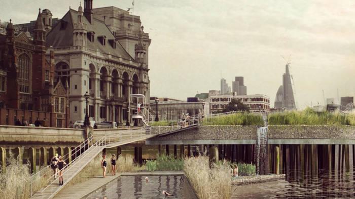 Artist's impression of Studio Octopi's proposed Thames Baths swimming scheme at Blackfriars Bridge