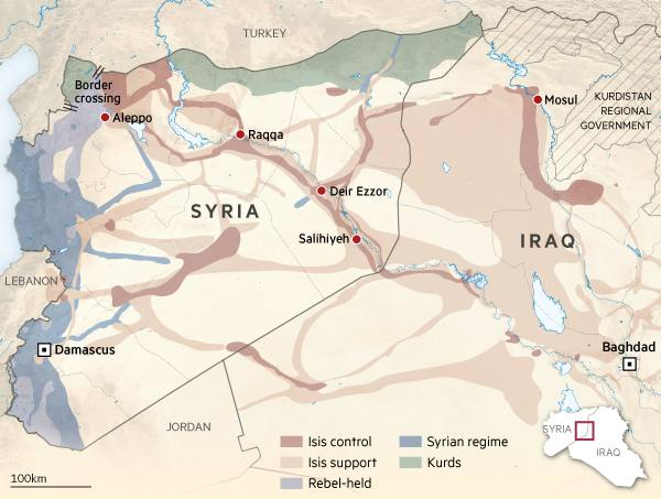 Isis syria border crossing map