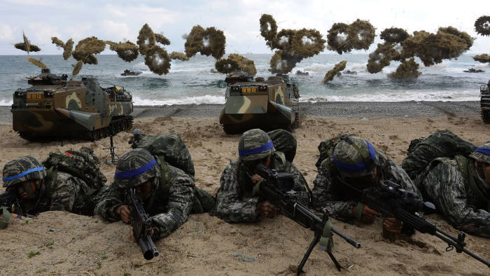 POHANG, SOUTH KOREA - APRIL 02: South Korean marines participate in landing operation referred to as Foal Eagle joint military exercise with US troops Pohang seashore on April 2, 2017 in Pohang, South Korea. South Korea military troops held for joint annual military exercise with the U.S. drawing criticism from North Korea, arguing that these training exercises will worsen the standoff over North Korea's nuclear weapons program. (Photo by Chung Sung-Jun/Getty Images) ***BESTPIX***