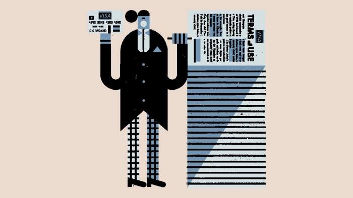 Illustration by Raymond Biesinger of a man with a credit card