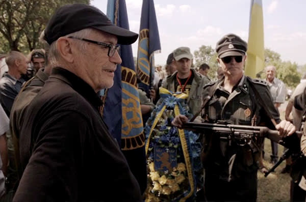 The SS Galizien reunion near Brody, western Ukraine, in July last year; Horst von Wächter (left) and, in Waffen SS uniform, Wolf Sturm