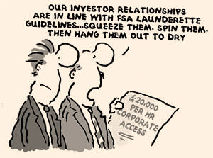An illustration showing two investors reacting to a newspaper text