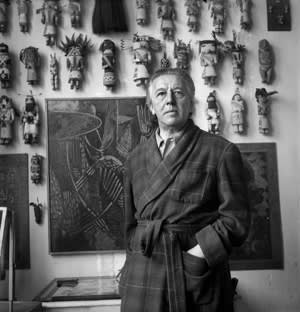 'André Breton with his 'Wall' in 1950