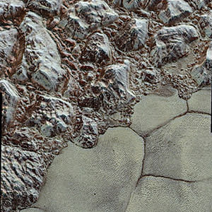 The surface of Pluto, as photographed by Nasa's New Horizons spacecraft