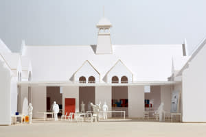 A model of the Fairfield International art school that British artist Ryan Gander plans to open in Suffolk
