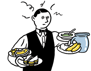 Illustration by Pete Gamlen of a waiter carrying too many food