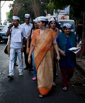 Meera Sanyal, former head of Royal Bank of Scotland's Indian operations and now a candidate for the AAP, campaigning in Mumbai