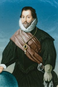 Circa 1585, Francis Drake (1540-1596). English admiral, first English sailor to reach the Pacific Ocean 1572, circumnavigated the globe 1577-80, preyed successfully on Spanish shipping, under Howard commanded in the defeat of the Spanish Armada 1588, died in the West (Photo by Stock Montage/Getty Images)