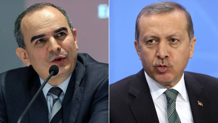 Policy battle: Turkish central bank governor Erdem Basci (left) had been criticised by President Recep Tayyip Erdogan (right) for not cutting interest rates more aggressively
