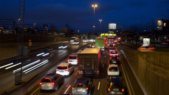 Vehicles travel on the E18 road in Oslo, Norway, on Monday, Nov. 21, 2016. The International Energy Agency forecasts that global gasoline consumption has all but peaked as more efficient cars and the advent of electric vehicles from new players such as Tesla Motors Inc. halt demand growth in the next 25 years. Photographer: Fredrik Bjerknes/Bloomberg