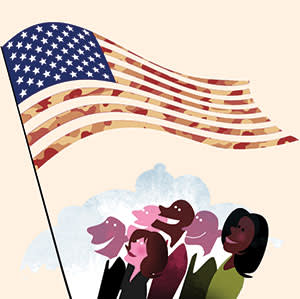 Illustration by Luis Grañena of Americans looking at US flag