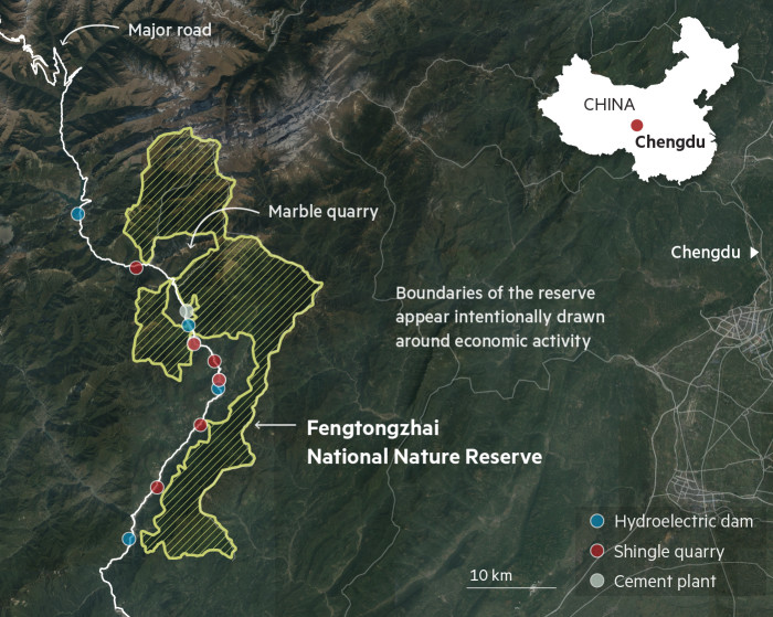 Map locating Fengtongzhai National Nature Reserve in China, and surrounding economic activities, including hydroelectric dams, shingle quarries and cement plant