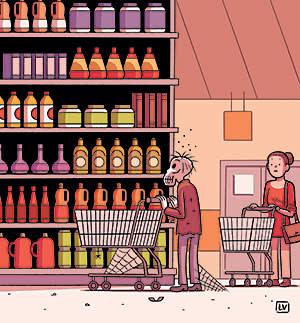 mummified shopper standing in front of a shelf. Illustration by Lucas Varela