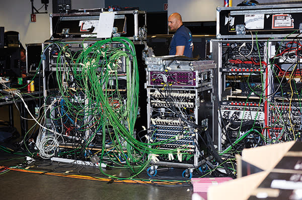 Some of the miles of cable in a behind-the-scenes tech room