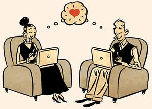 Illustration depicting 21st-century relationships