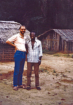 Piot with Mandzomba on a return visit in 1986