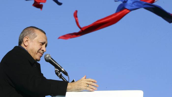 Turkey's President Recep Tayyip Erdogan addresses his supporters in Istanbul, Saturday, Jan. 21, 2017. Erdogan started campaigning for constitutional reforms that would greatly expand the powers of his office on Saturday, hours after a vote in parliament cleared the way for a national referendum on the issue. (Kayhan Ozer/Presidential Press Service, Pool Photo via AP)