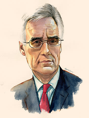 Lunch with the FT illustration of Adair Turner by James Ferguson