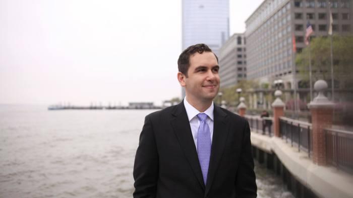 Jersey City Mayor Steven Fulop along the Hudson River