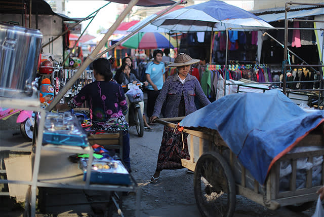 The market in Muse, where most of the goods are Chinese