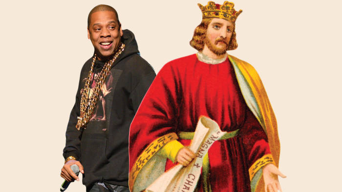 picture of Jay-Z and colour illustration of King John of England