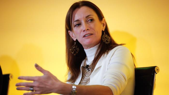 Blythe Masters, chief executive officer of Digital Asset Holdings LLC, gestures as she speaks at the Bank of England Open Forum at the Guildhall in London