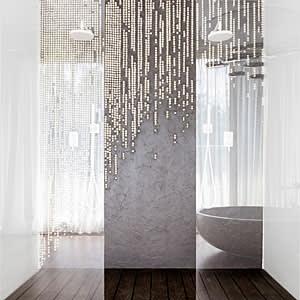 Pearl-beaded shower curtain by Romanian artist Mihaela Damian