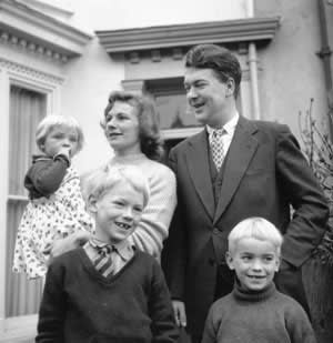 Kingsley Amis with his first wife Hilary and children (from left) Sally, Philip and Martin, Swansea, 1956