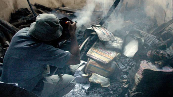 burnt-down printing press in Colombo