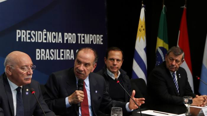 Foreign Ministers of Mercosur, Argentina's Jorge Faurie, Paraguay's Eladio Loizaga, Brazil's Aloysio Nunes Ferreira and Uruguay's Rodolfo Nin Novoa, and Sao Paulo's mayor Joao Doria attend a media conference after their South American trade bloc Mercosur meeting in Sao Paulo, Brazil August 5, 2017. REUTERS/Paulo Whitaker