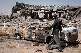Bombed remains of a mansion once owned by colonel Gaddafi that was used by Islamists