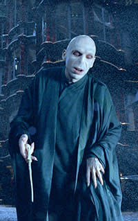 Harry Potter, 2005-11. Ralph Fiennes as Lord Voldemort, Harry Potter's arch-enemy in the fantasy film series