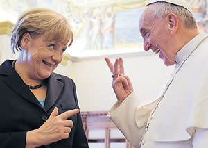 Pope Francis with German chancellor Angela Merkel during an audience at the Vatican in May last year
