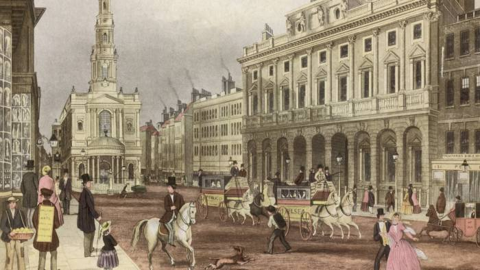 circa 1850: Horse-drawn buses convey passengers along the Strand in London, past the little church of St Mary-le-Strand. (Photo by Hulton Archive/Getty Images)