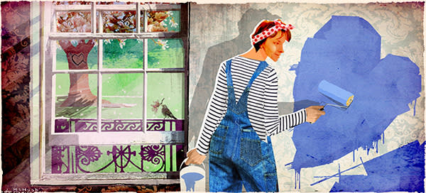 An illustration of a woman painting a wall