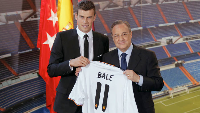 Welsh international soccer player Gareth Bale, left, and Real Madrid President Florentino Perez.