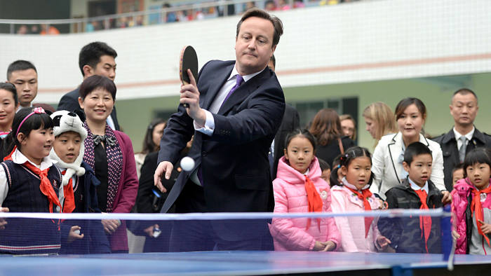 UK  premier David Cameron at a primary school  in Chengdu on Wednesday