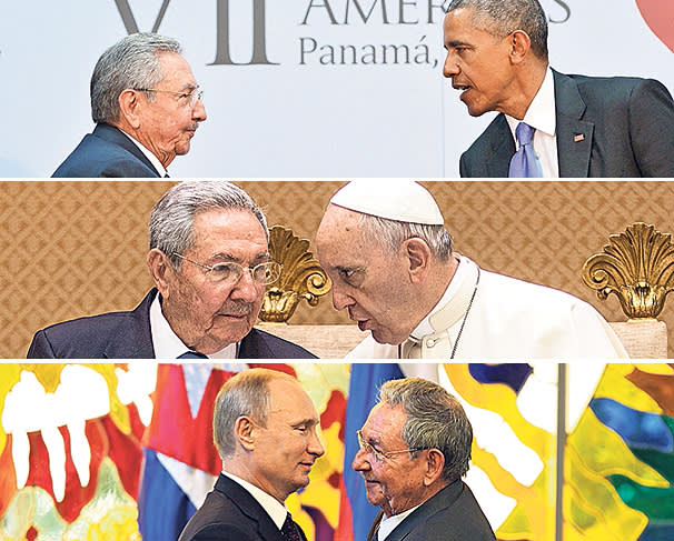 (top to bottom) Raúl Castro meets President Obama, Pope Francis and President Putin