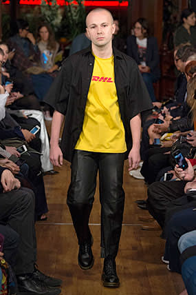 Vetements' DHL T-shirt on the SS16 catwalk
