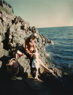 Wenda and [the Parkinsons' son] Simon, south of France, c1951