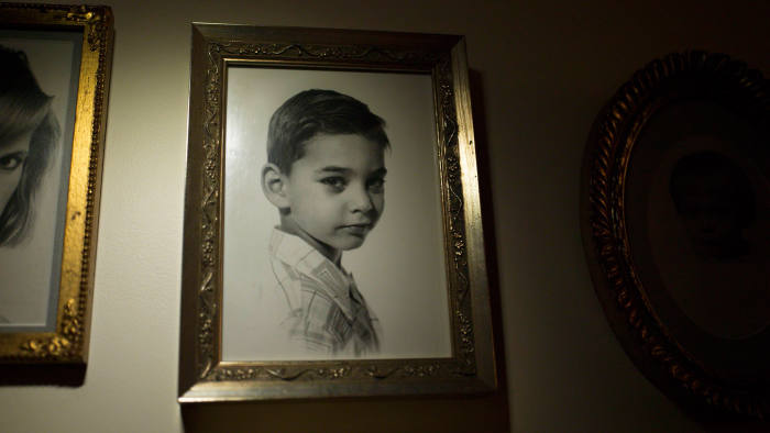 A portrait of the young Paul Auster on display at his home in Brooklyn