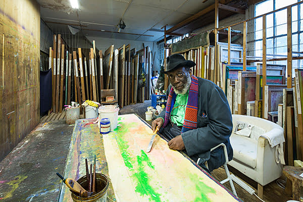 Artist Frank Bowling in his studio in South London