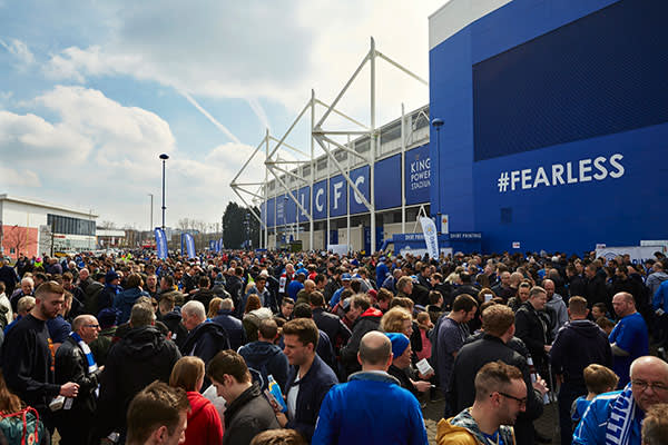 Leicester fans gather outside the King Power Stadium