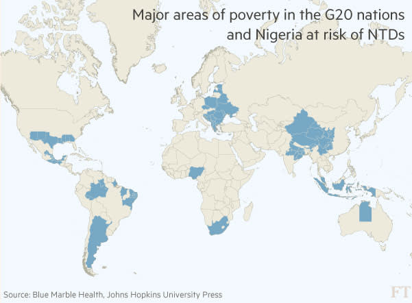 Major areas of poverty in the G20 Nations and Nigeria at risk of NTDs